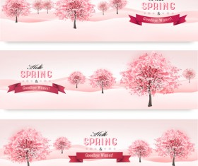Pink style spring trees banners vector graphics 01