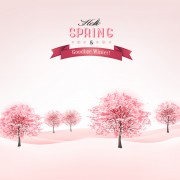Link toPink style spring trees vector background