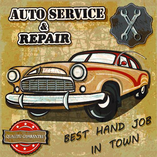 Retro Auto Service And Repair Poster Vector 01 Vector