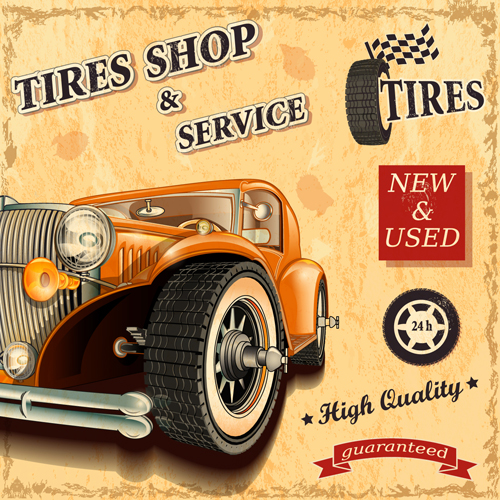 Retro Auto Service And Repair Poster Vector 05 Vector