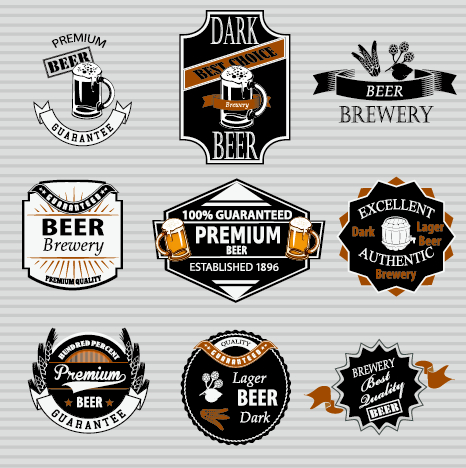 Retro Beer Labels Vectors Set   Vector Label Free Download
