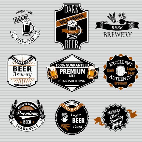retro beer labels vectors set 02 free download