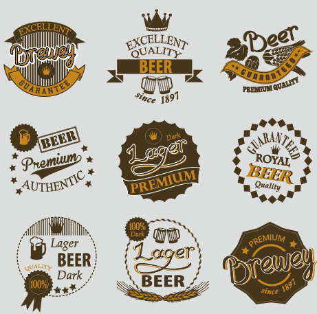 free eps file retro beer labels vectors set 03 download name retro ...