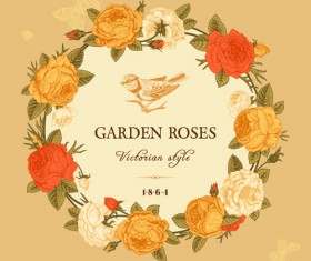 Rose with bird vintage cards vector 01