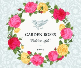 Rose with bird vintage cards vector 02