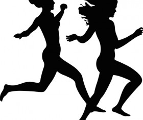 Running girl design vector silhouettes graphics