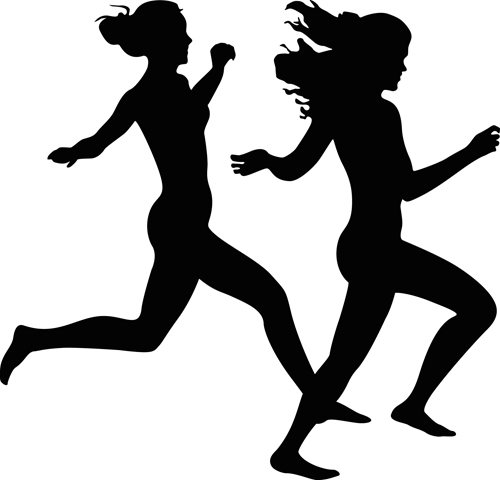 Running girl design vector silhouettes graphics - Vector ...