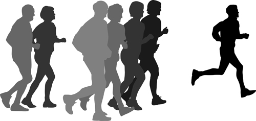 Running man design vector silhouettes graphics free download