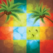 Link toShiny colored square with coconut tree background vector