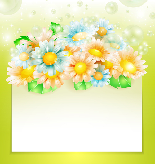 Shiny Spring Flowers Creative Background Vector 01