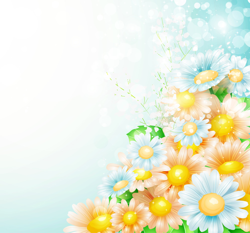 Shiny Spring Flowers Creative Background Vector 03 Free