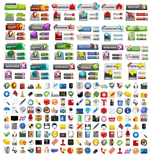 Shiny web buttons and web icons vector - Vector Web design free ...
