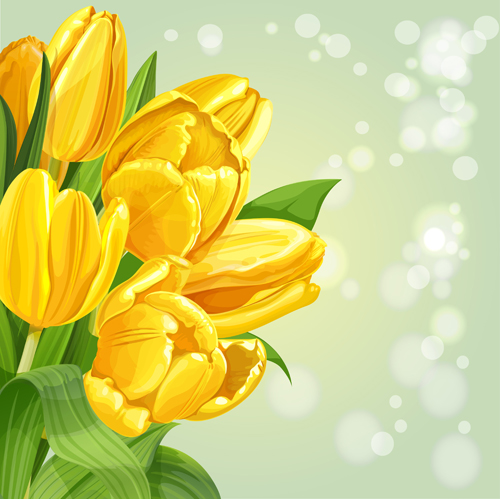 Shiny Yellow Tulips Vector Background Art Free Download