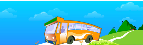 Sightseeing bus and lovely views vector