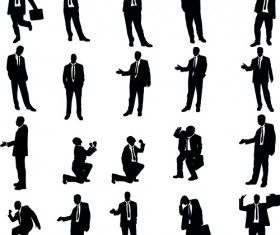 Vector set of businessman silhouettes graphics 01