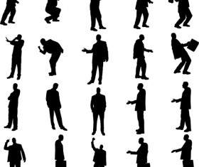 Vector set of businessman silhouettes graphics 02