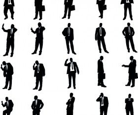 Vector set of businessman silhouettes graphics 03