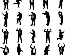 Vector set of businessman silhouettes graphics 04