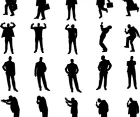 Vector set of businessman silhouettes graphics 05