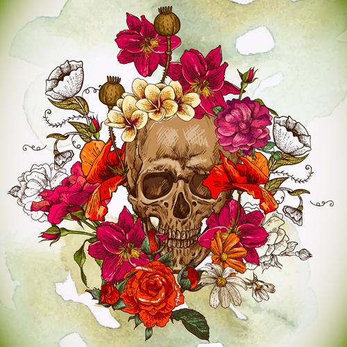 Skull And Poppies Vector Background 01