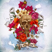 Skull and poppies vector background 03