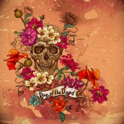 Skull and poppies vector background 04