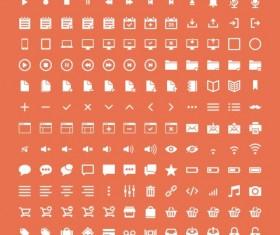 Small fine white web icons psd