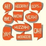 Text short words and speech bubbles design vector 01