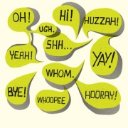 Text short words and speech bubbles design vector 02