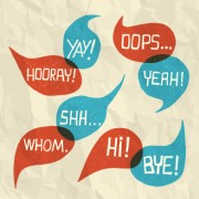 Text short words and speech bubbles design vector 04