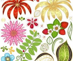 Strawberries and flower with leaf pattern vector