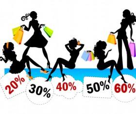 Stylish shopping girl with big sale vector