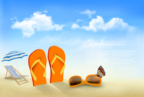 Summer Beach Vacation Background Art Vector 04 Free Download