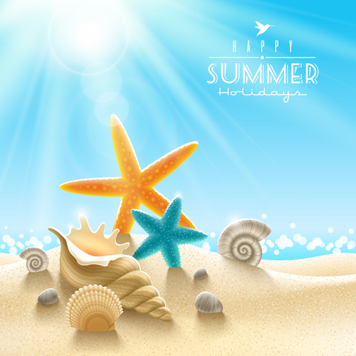 Summer holiday ocean backgrounds art vector 03 Over millions – Summer Powerpoint Template