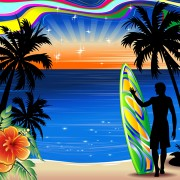 Link toSummer travel background with silhouette vector