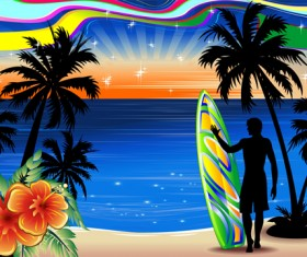 Summer travel background with silhouette vector