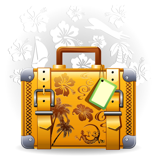 Summer travel suitcase backgrounds vector 01