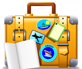 Summer travel suitcase backgrounds vector 03