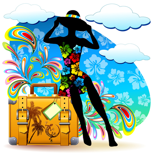 Summer Travel Suitcase Backgrounds Vector 04 Over