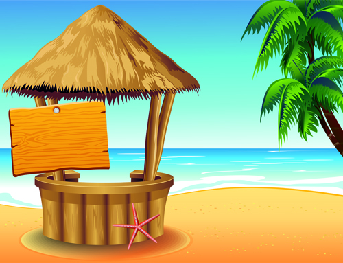 Happy Summer Holidays Background Vector: Summer Travel With Holiday Background Art Vector 01 Free