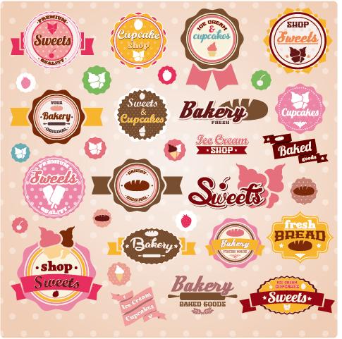 Car sticker design vector free - Ice Cream Labels Cute Design Vector 02 Vector Label Free Download