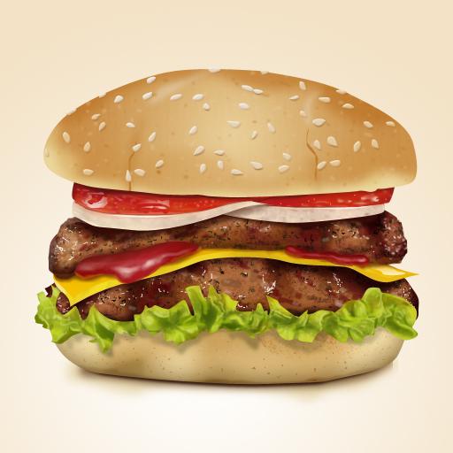 Tasty hamburger creative psd graphics