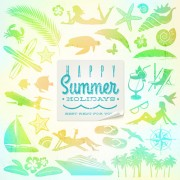 Link toTravel elements with summer holiday background