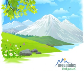 Tree and natural scenery vector background 01