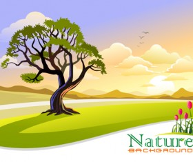 Tree and natural scenery vector background 02