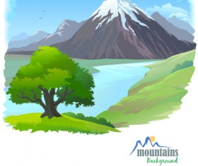 Tree and natural scenery vector background 04