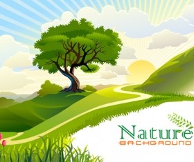 Tree and natural scenery vector background 05