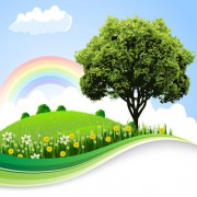 Tree and natural scenery vector background 06