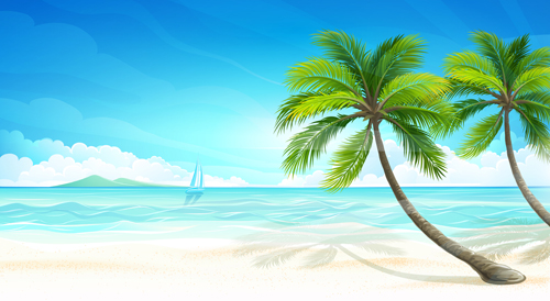 Tropical Islands Holiday Background Design Vector 04