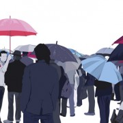 Umbrella and people silhouettes design vector